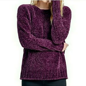 Seven 7 deep purple chinelle knit pullover sweater